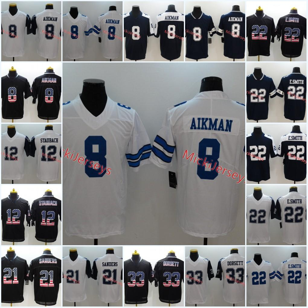 pick up 2131b d9cb6 Mens White Navy #8 Troy Aikman Jersey Stitched #12 Roger Staubach #21 Deion  Sanders #22 Emmitt Smith #33 Tony Dorsett Jersey S-3XL