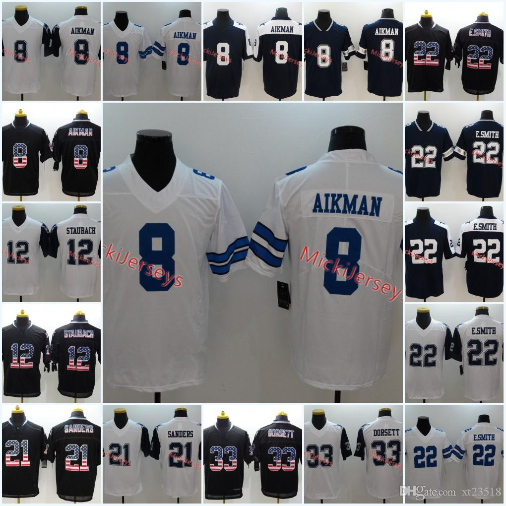 timeless design a69e3 26b29 Mens White Navy Rush #8 Troy Aikman Jersey #12 Roger Staubach #21 Deion  Sanders #22 Emmitt Smith #33 Tony Dorsett True American Jersey S-3XL