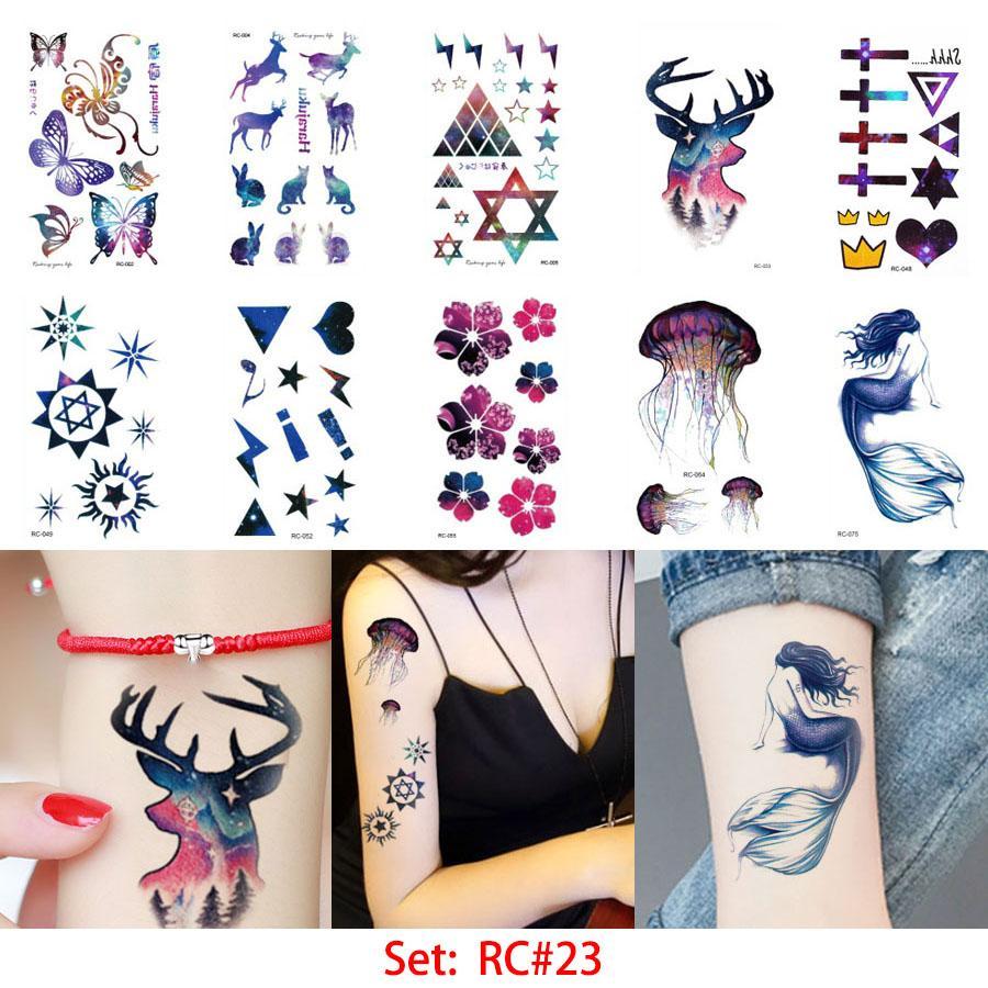 glaryyears 10.5*6cm Temporary Tattoo Sticker Beauty Body Art Waterproof Halloween Water Transfer RC Tattoo Cute