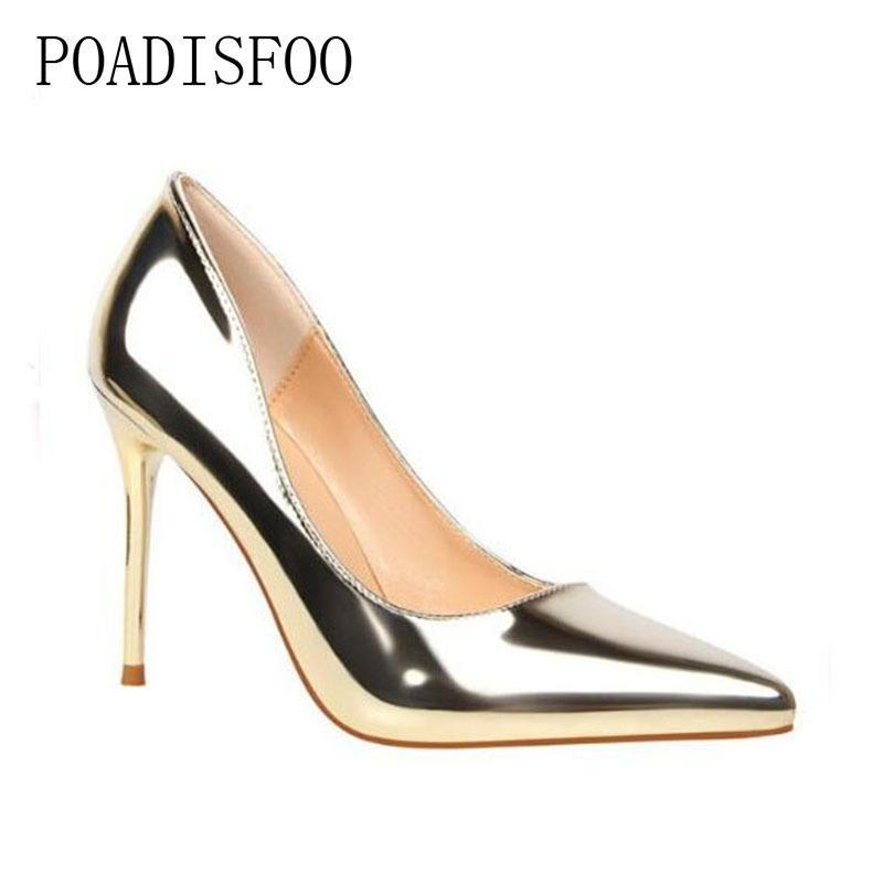 76034cc6de0 Dress Shoes 2019 High Heel Stiletto Classic Pumps Silver Closed Toe Pumps  Prom Woman s Women s Pumps Pointed Toe .PSDS-9219-13