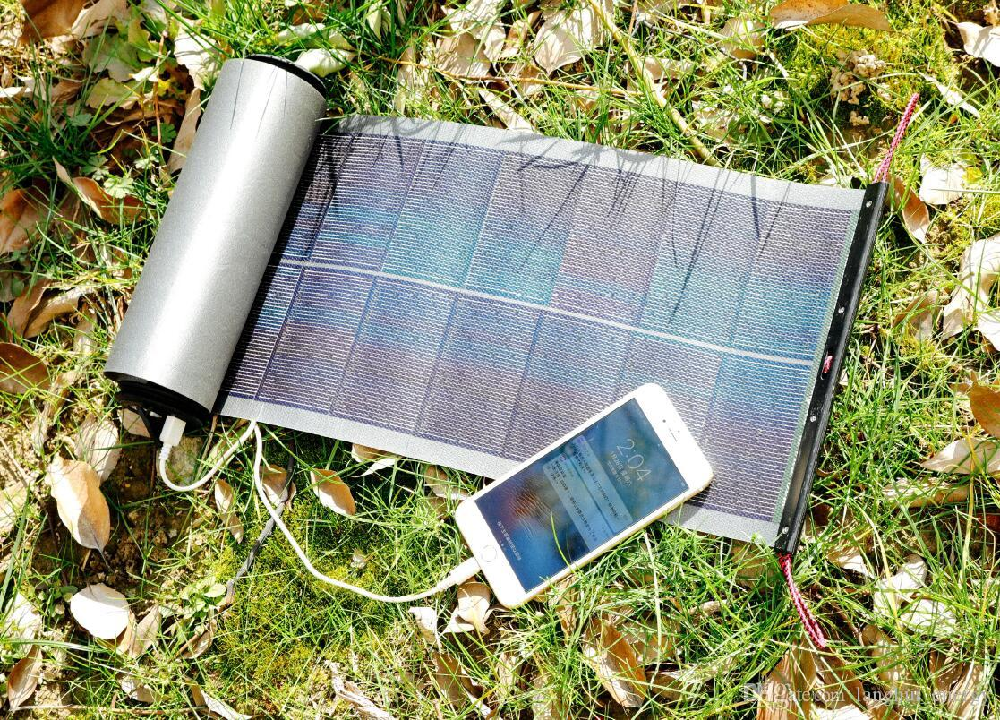 Solar panel CIGS flexible thin film 18W output 5V/9V/12V easy scroll with torch LED waterproof portable DIY solar charger kit LHXR10