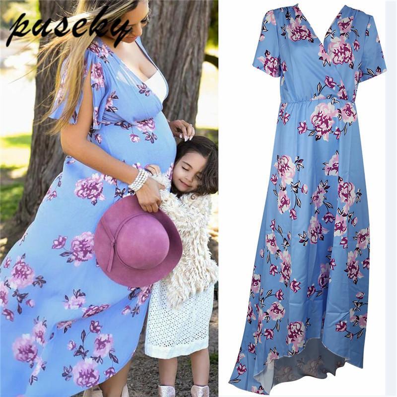 1341743263b0b 2019 Puseky Summer Floral Maternity Dresses For Pregnancy Women Short  Sleeves Dress Pregnant Clothes Maternity Nursing Wear From Jasmineer,  $22.66 | DHgate.