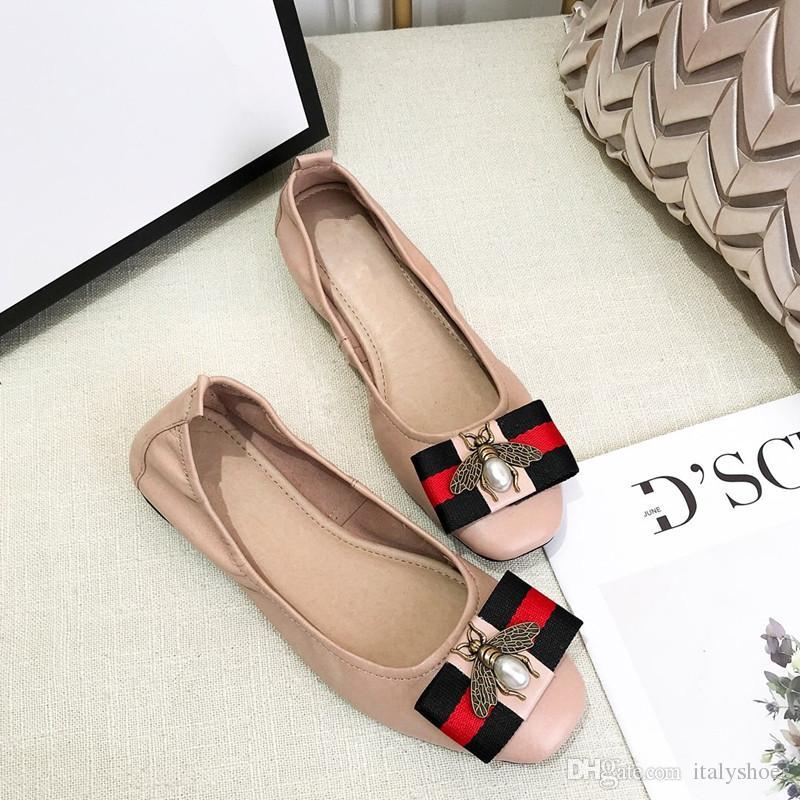 e2539dc97ec Bow Bowtie Patchwork Plaid Genuine Leather Pumps Ballet Flats Lady Slip On  Office Lady Women Footwear Dress Shoes wl18121602