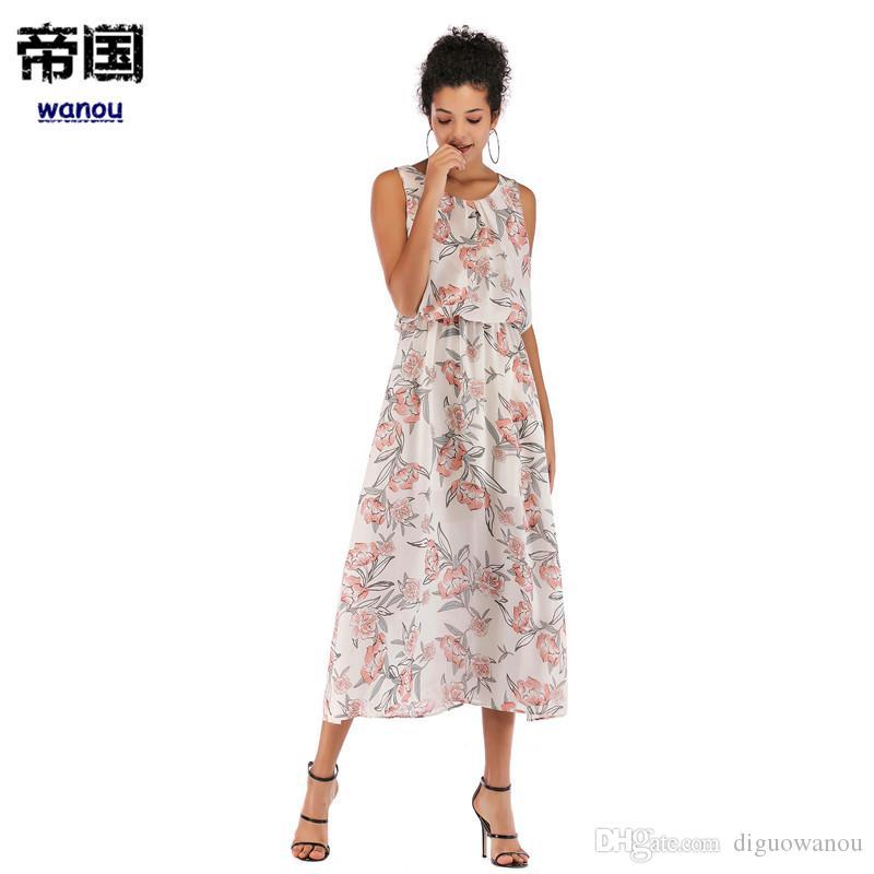 8d031534610 Acheter Été Nouvelle Mode Robe Femmes Fleur Rouge Col Rond Sans Manches  Impression Taille Mince Grand Ourlet En Mousseline De Soie Longue Robe De   33.77 Du ...
