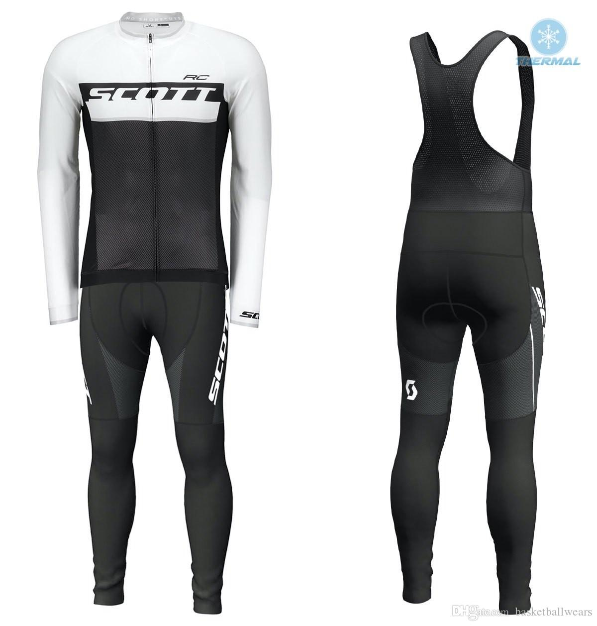 Hot Sale Scott Winter Thermal Fleece Long Sleeves Cycling Jersey Set ... a710be2bc