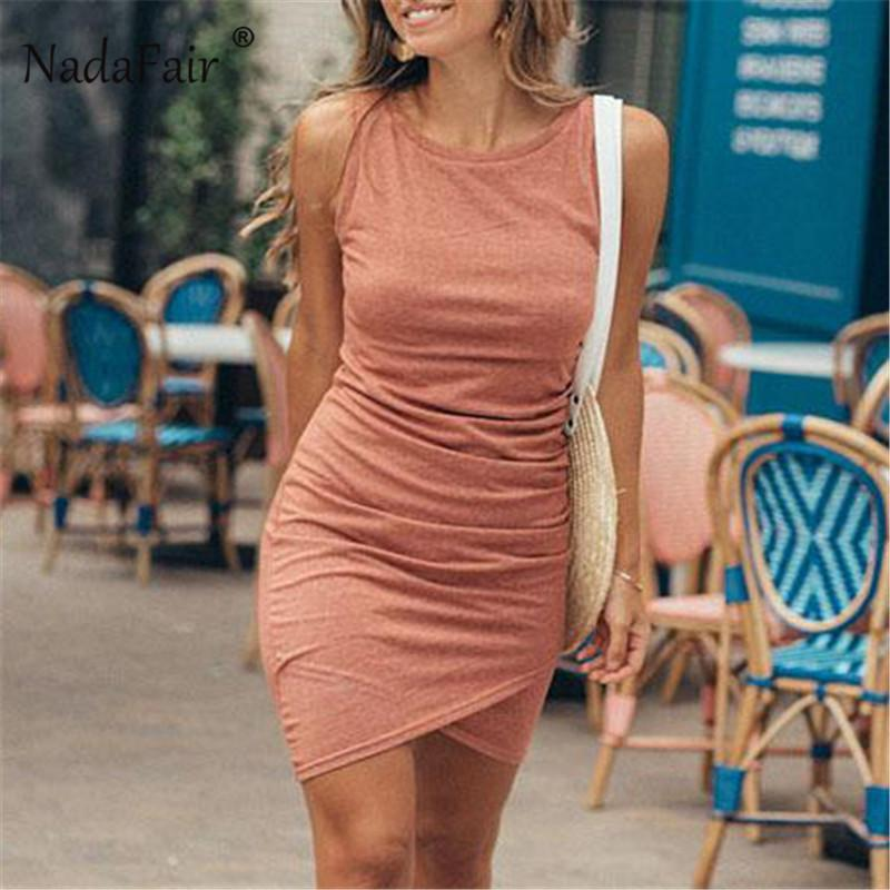 Nadafair Sleeveless Bodycon Dress Casual Mini Ruched Summer Women Dress Streetwear Plus Size Basic Tank Wrap Dresses Female Y19051001