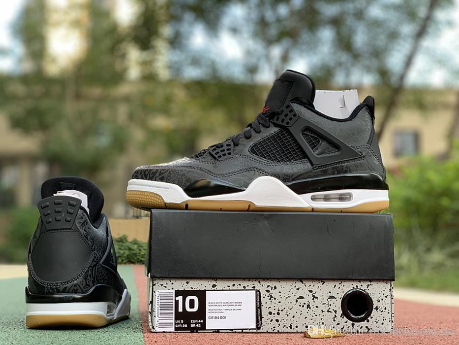cheap for discount e0c78 77536 2019 New Release Retro Authentic 4 SE Laser Black Gum Men Basketball Shoes  4s 3M Gum Light Brown Sports Sneakers Raw Rubber CI1184 001 With Box From  ...