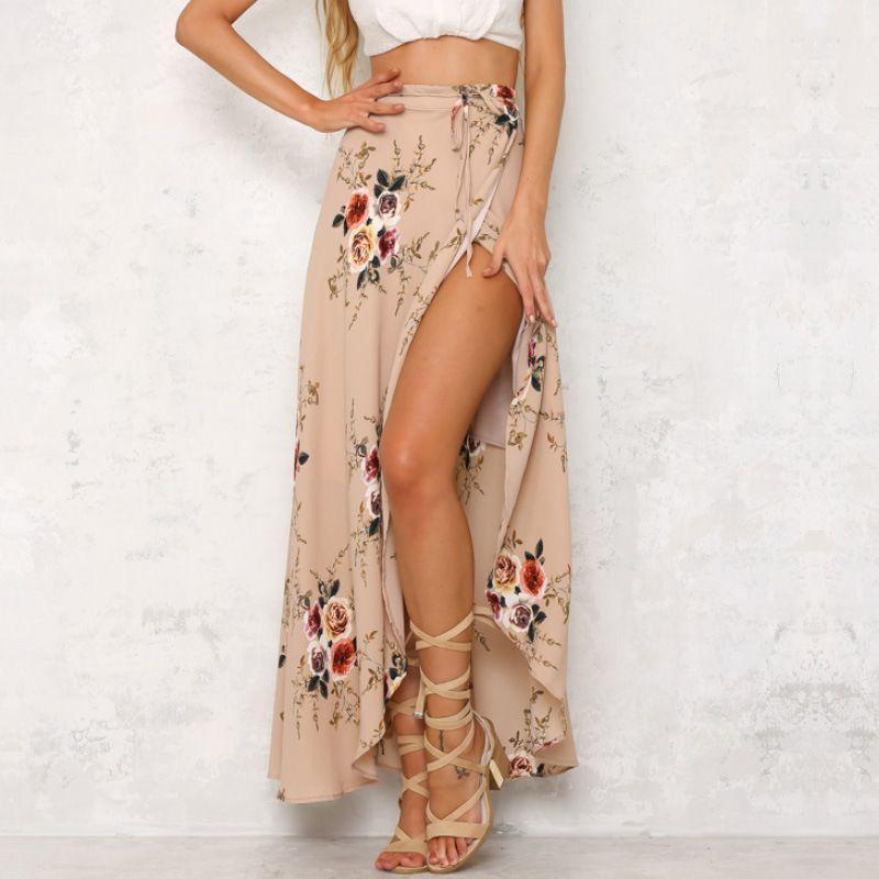 64de44e927c71 Women long Skirt Sexy Boho Skirts Asymmetrical Split Ends Printing  High-Waisted Sandy Beach Skirt Falda De Playa clothes