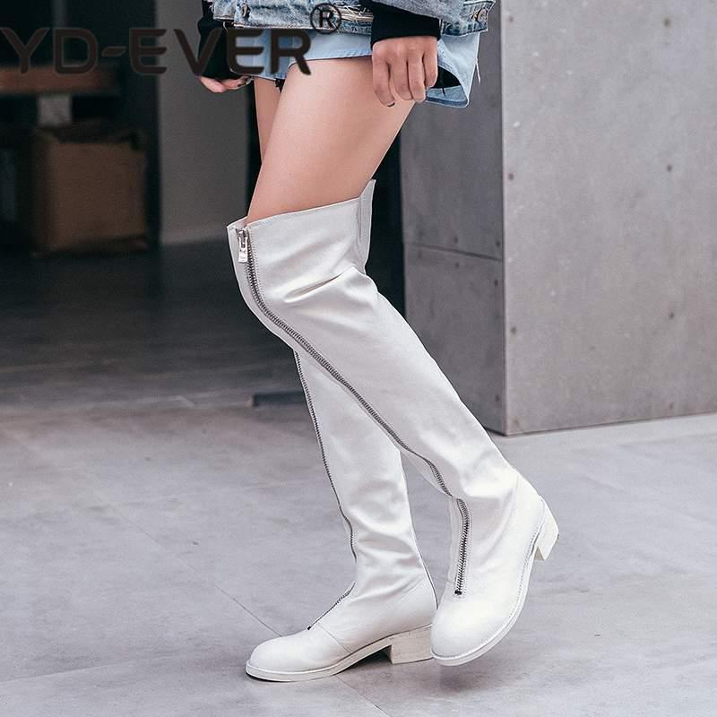 6f56fc9d845b Superstar Large Size Zipper Genuine Leather Women Over The Knee Boots Round  Toe Elegant Thigh High Boots Winter Shoes Mens Boots Thigh High Boots From  ...