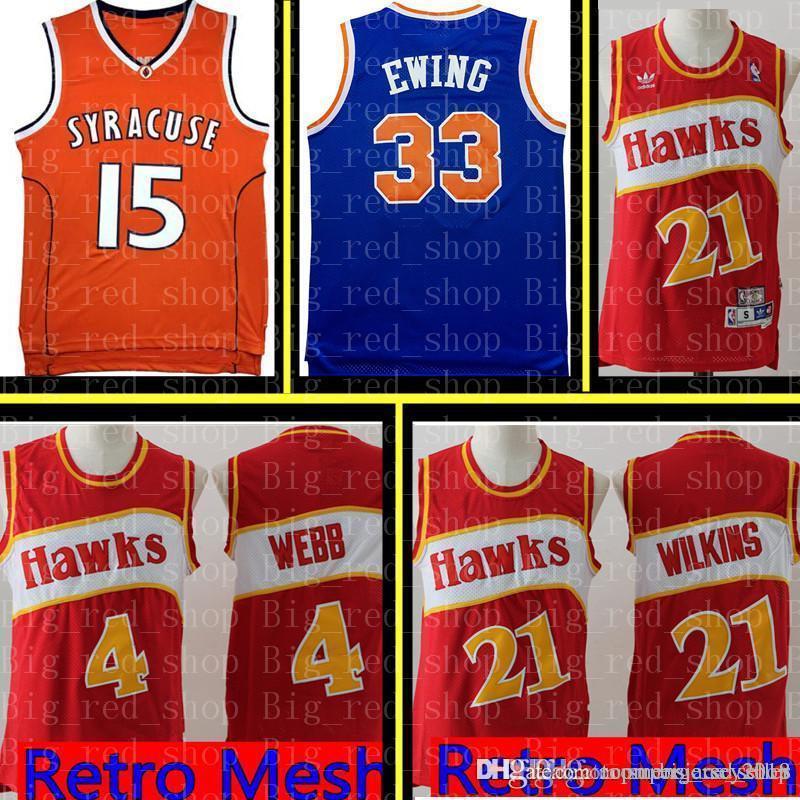1501b454f 2019 Atlanta Hawk Dominique 21 Wilkins Spud 4 Webb Jersey Hawks Retro Mesh Basketball  Jerseys Red White Cheap Wholesale From Topmensjersey2018