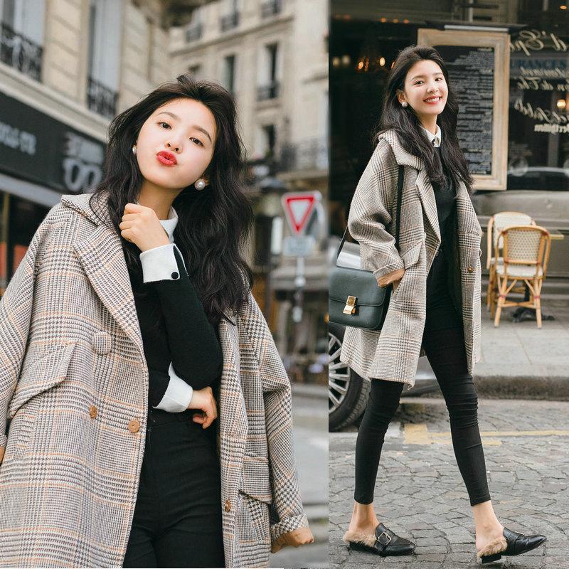 785ed8e921d4 2019 New Korean Fall Autumn Winter Fashion Wool Blends Vintage Loose Plaid  Long Coat Casual Women Coats Female Jackets Plus Clothes From Morph1ne, ...