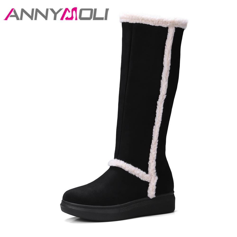 523d420f2f38 ANNYMOLI Winter Women Boots Knee High Boots Zipper Flat Platform Heel Tall Round  Toe Med Heel Shoes Ladies Plus Size 34 43 Boots Uk Winter Boots From ...