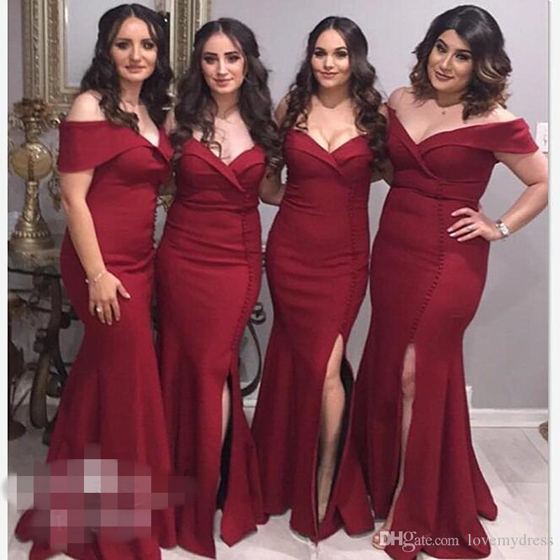 2019 Fashion Burgundy Satin Wedding Guest Dresses For Bridesmaids Boat Neckline Pleated Side Split Bridesmaid Dress Maid of Honor Party Gown