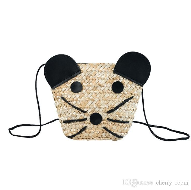 new summer cartoon children mini bags fashion little mouse kids beach messenger bag cute grass weaving girl one-shoulder bag Y1202