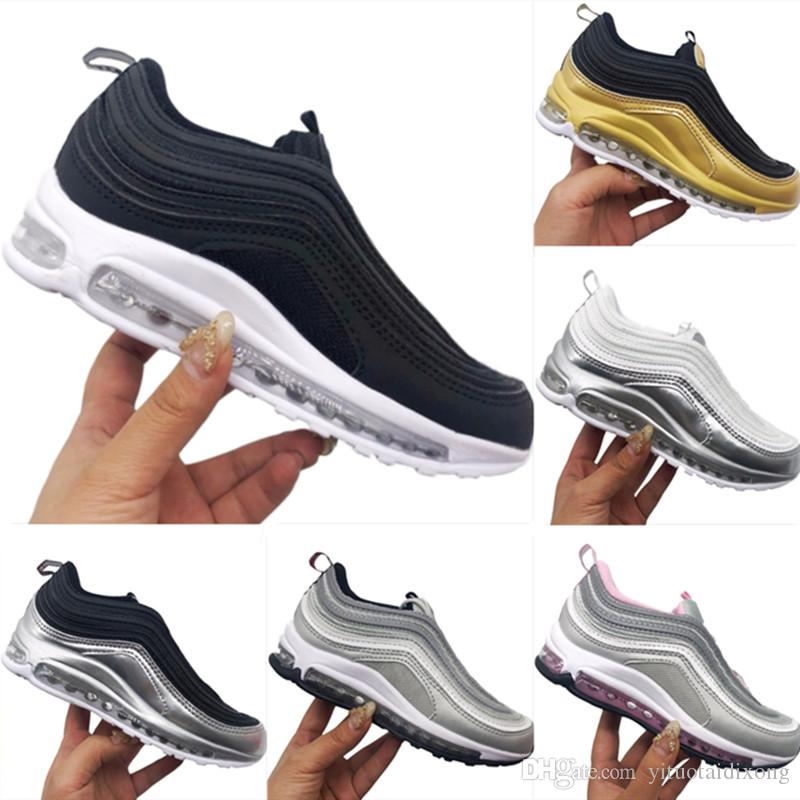 ee80595468e With Box 2019 Kids 97s Leather and Fabric Breathable Running Shoes 97 OG  TPU Built in Air Kids Outdoors Cushioning Athletic Shoes