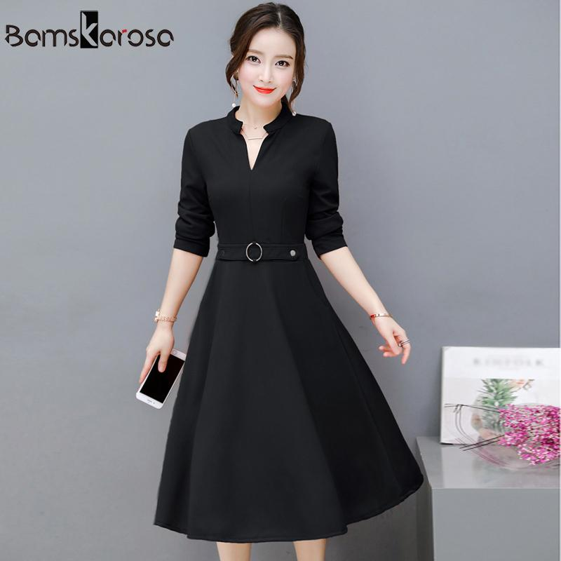 2019 Elegant Party Dress Women 2018 Autumn New Offic Work Dress Black Red  Green Long Sleeve V Neck Vintage Slim Ladies Dresses Y190123 From Tao01 6aaf574f4acf