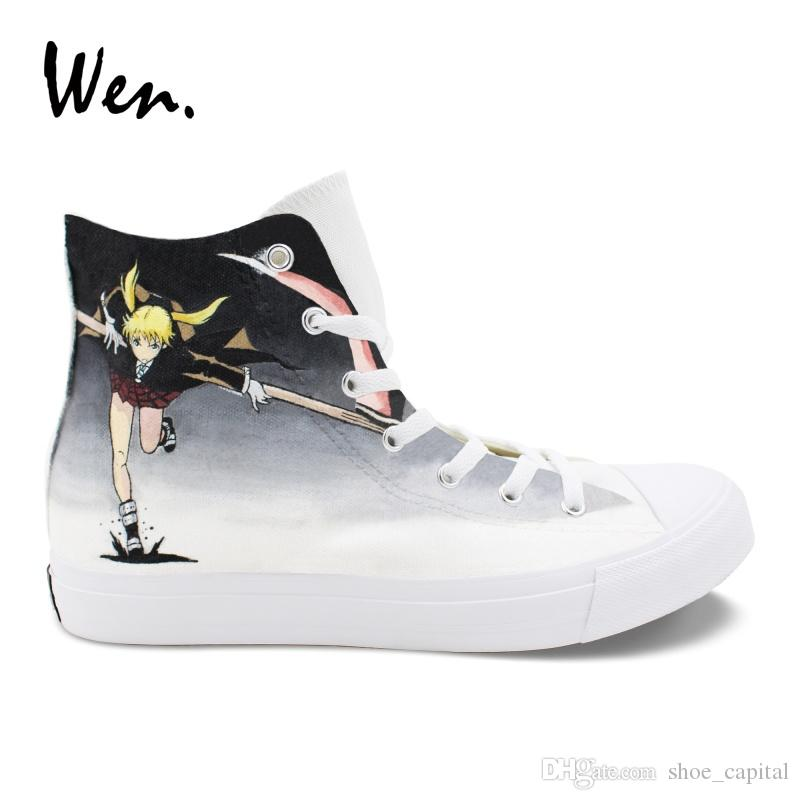 00c85a29dea3 Wen Unisex Anime Shoes Vulcanize Casual Flat Hand Painted Soul Eater MAKA  ALBARN Death The Kid Canvas Sneakers Pedal Platform  245537 Buy Shoes  Online Slip ...