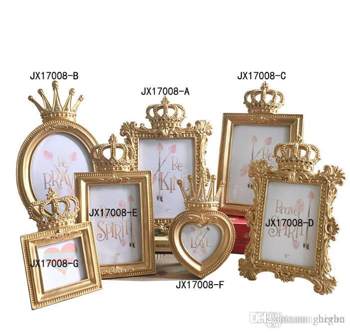 5Pcs/set Luxury Gold Crown Picture Frame Photo Frame Set Home Decor Desktop Wedding Gift