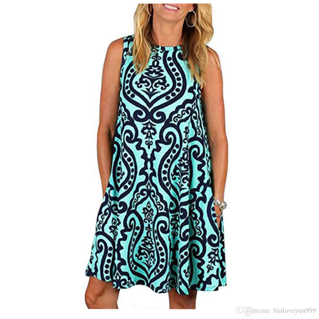 419828f897172e LKOMARKET Women S Summer Sleeveless Floral Printed Casual Swing Dress  Sundress With PocketsS XXXL Green Dresses For Juniors Ladies Dresses On  Sale From ...