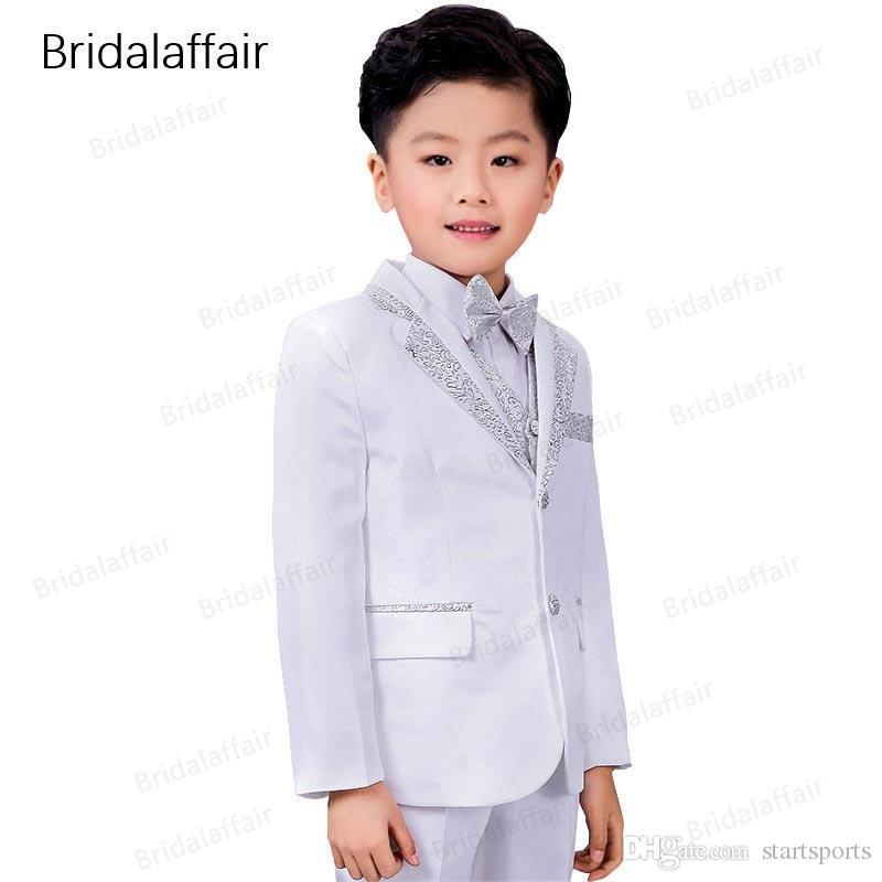 6f0c0ac033 KUSON Fashion Kids Suits Flower Boys Party Tuxedo Costume Suits Children  Shiny White-silver Wedding Suit 2018(Jacket Pants Vest) #577765