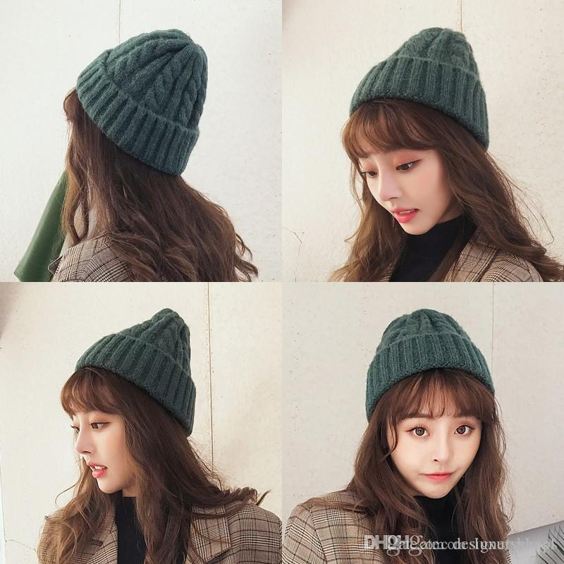 Chic Autumn And Winter Warm Knitted Wool Hat Korean Version Of The Tide  Wild Rolled Edge Pointed Hat Japanese Ins Couple Hat Female Beanies For  Women Beanie ... 270dc784272