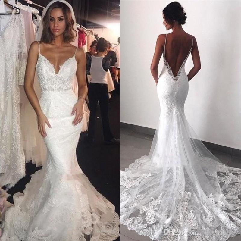 Modern Backless Wedding Dresses 2019 Sexy Open Back Mermaid Spaghetti Straps Applique Lace Long Bridal Gowns Formal