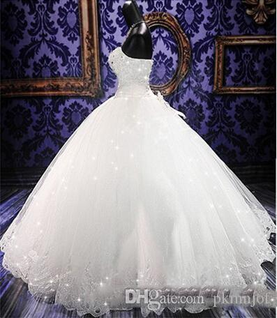High Quality Bling Crystal Wedding Dresses Back Lace Up Tulle Appliques Floor Length Ball Gown Wedding Gowns