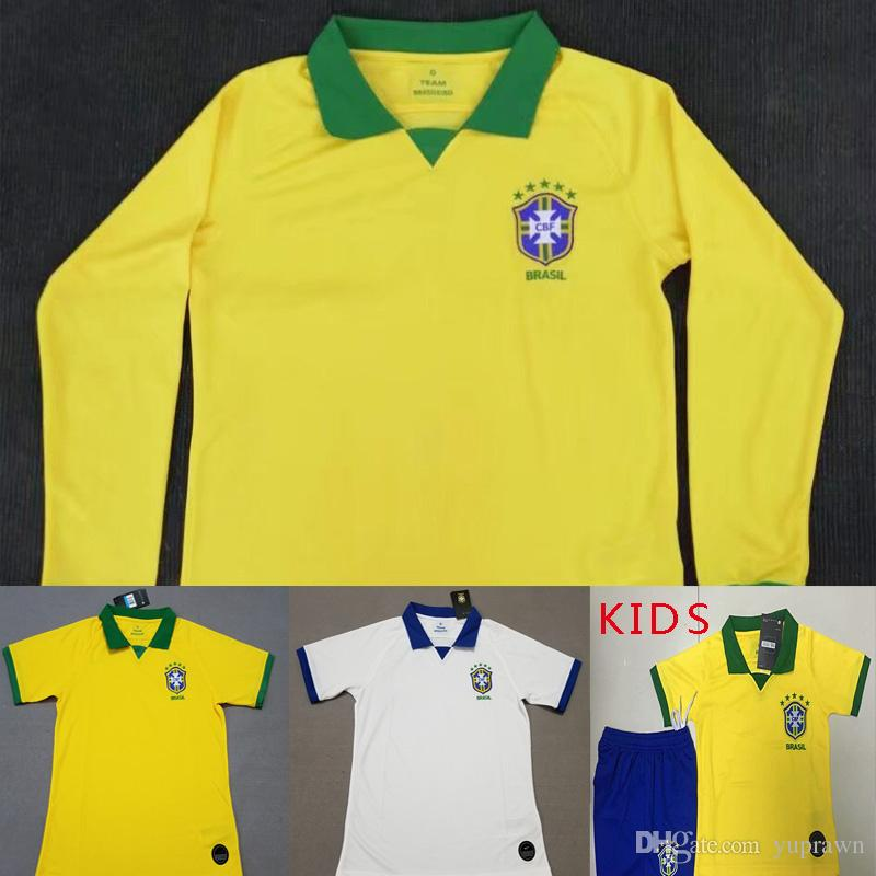 timeless design a6277 1420c 2019 Copa America Brazil Soccer Jersey Kids Women Long SLeeve COUTINHO  FIRMINO 19 20 Brasil Camisa MARCELO PAQUETA Brazil Football Shirt