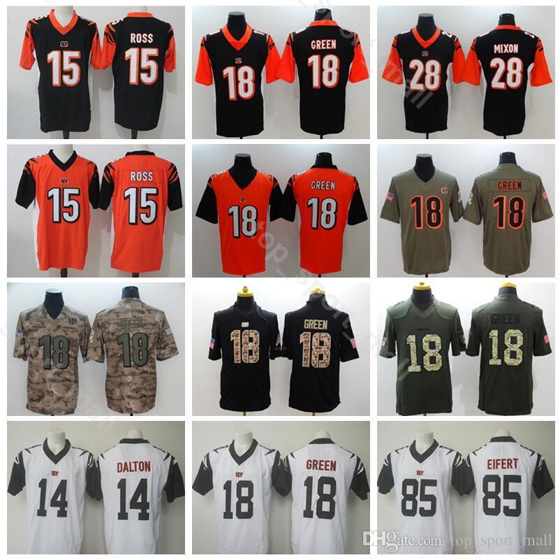 e11086073 2019 Football Cincinnati 14 Andy Dalton Jersey Bengals Men 15 John Ross 18  AJ Green 28 Joe Mixon Vapor Untouchable Black Orange White Camo From ...