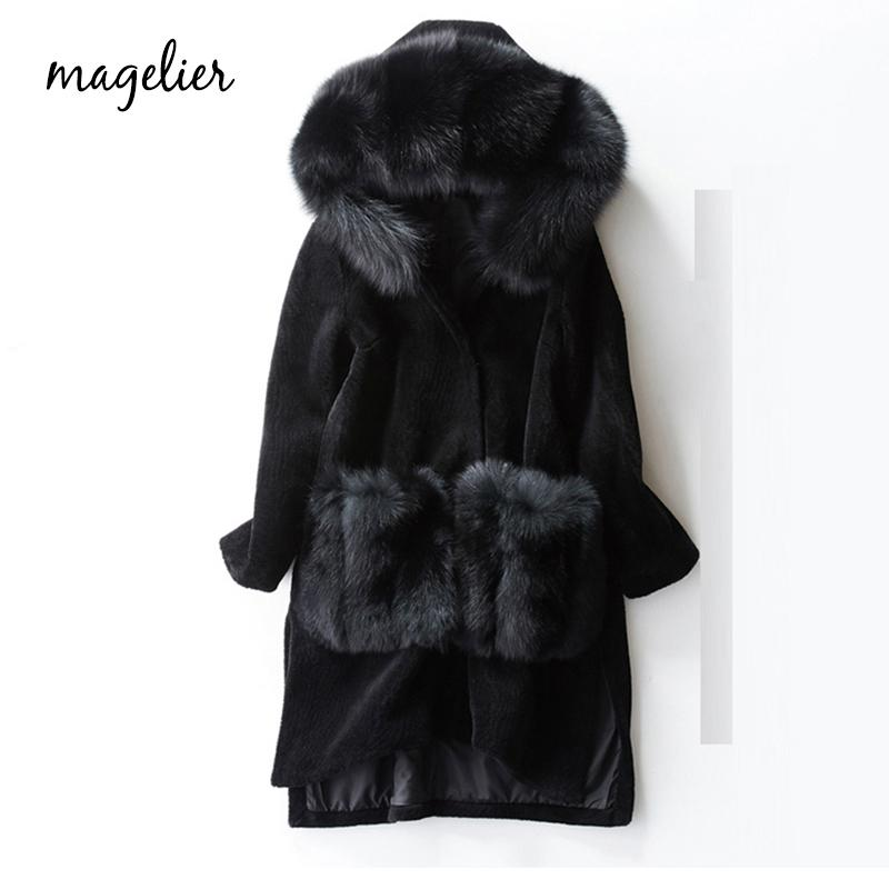 MAGELIER Natural Real Sheep Shearling Genuine Fox Fur Sheep Skin Fur Coat Winter Long Thick Outerwear Coats Female LD-7710