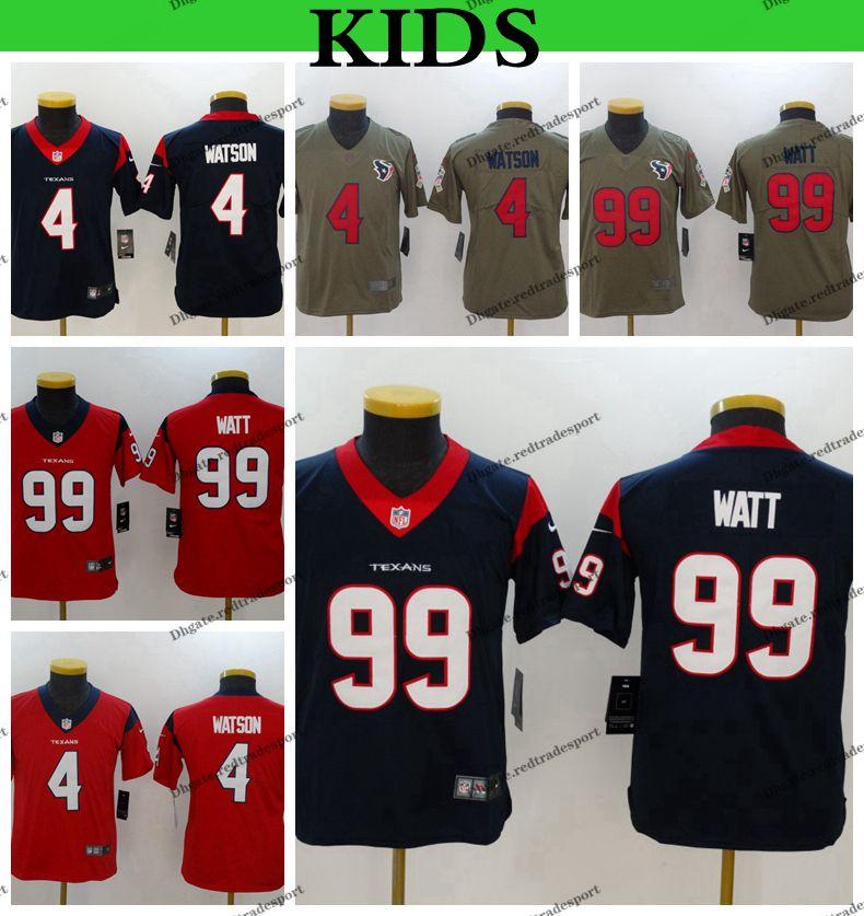 purchase cheap a2858 969cf Youth Houston Kids Texans Deshaun Watson Football Jerseys 4 Deshaun Watson  99 J.J. Watt Stitched Football Shirts S-XL