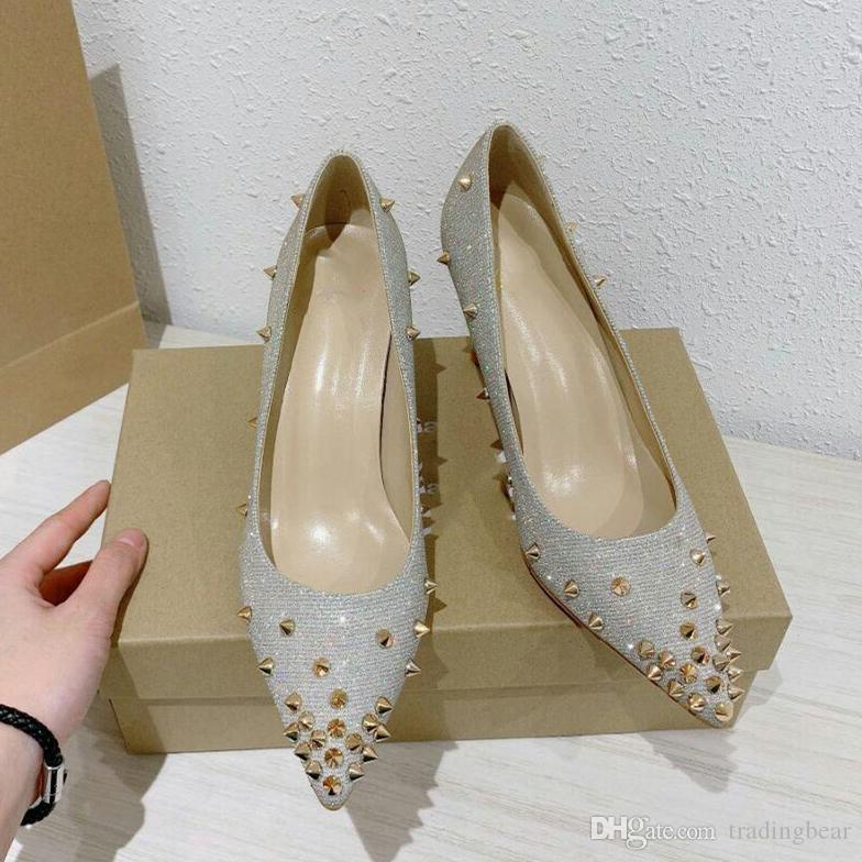 luxury women designer shoes red bottom high heel gorgeous rhinestones real leather pointed dress shoes size 35 to 41 tradingbear