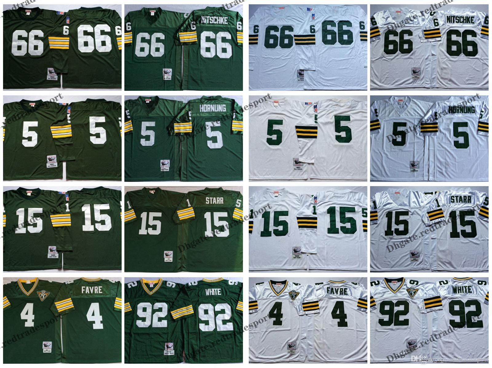 low priced 31ebd d6acb Vintage Green Bay Favre Packers 4 Brett Favre 15 Bart Starr 66 Ray Nitschke  92 Reggie White Football Jerseys Cheap Stitched Shirts M-XXXL