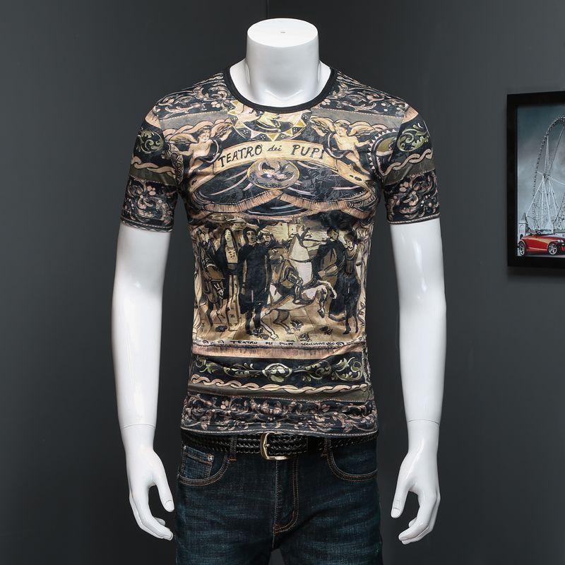 bf9c3de5ce 2019 Summer New Short-sleeved T-shirt High Quality Luxury Men's Cotton  Silky Leopard Half-sleeve Round Neck T-shirt Plus Size M-5XL