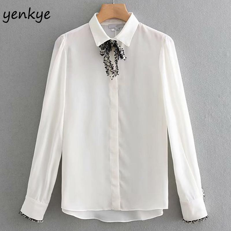 3c96bd165190 2019 2019 Women Tweed Bow Tie Turn Down Collar White Blouse Shirt Lady  Flowy Long Sleeve Office Ladies Shirts Plus Size Chemise Femme From  Waistband18, ...