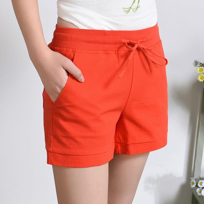 Nuevos Moda Para Las Mujeres Cintura Mujer Sólido Corto Feminino Cortos De Lino Pantalones Elástico Alta Verano Algodón Suelta 4qA35RjL
