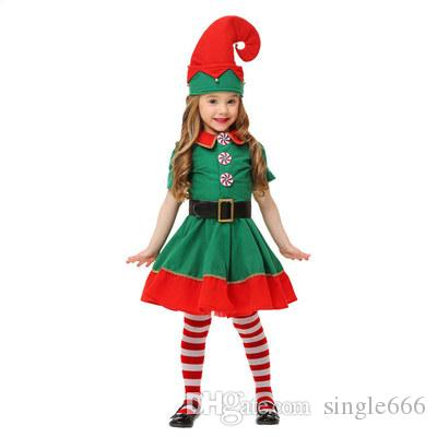 ad9e3f00dfc84 Hot Christmas Cosplay Costume New Children's Christmas Elf Costume Boy and  Gril Green Festive Lovely Theme Costume
