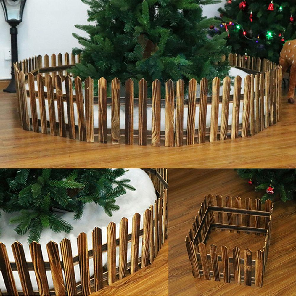 Christmas Tree Wooden Snow Fence Xmas Foldable Tree Skirt Stand Cover New Decor 1 6 M Christmas Scene Layout Window Props