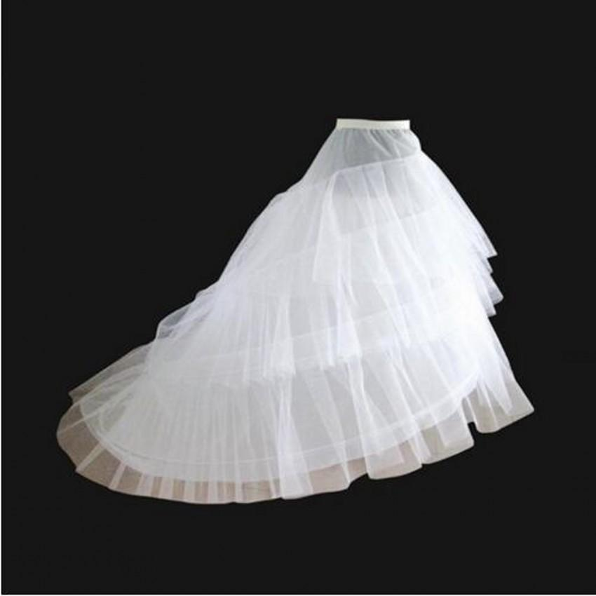 White or black Petticoat For Wedding Dresses Long Tail Two Crinoline Three Layers Yarn Wedding Accessories Bridal