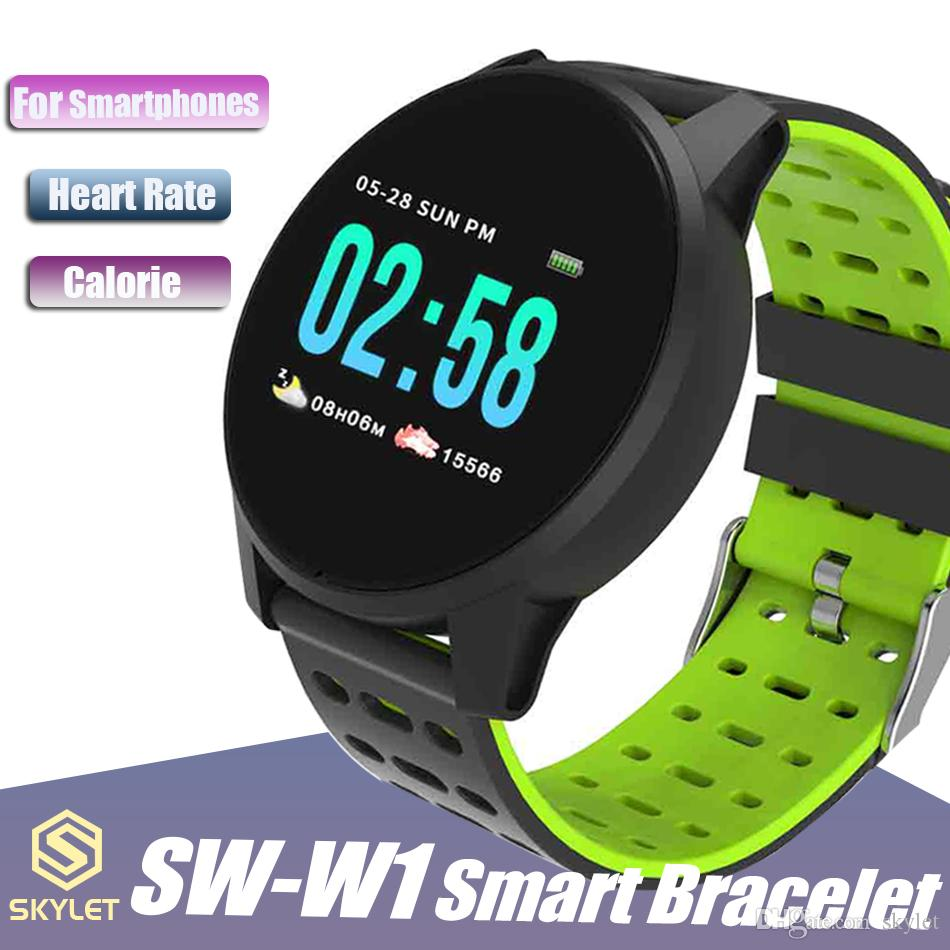 W1 Smart Watch SW-W1 Bluetooth Wireless Smart Bracelet with Heart Rate Calling Message for Apple IOS Android Cellphones with Retail Box