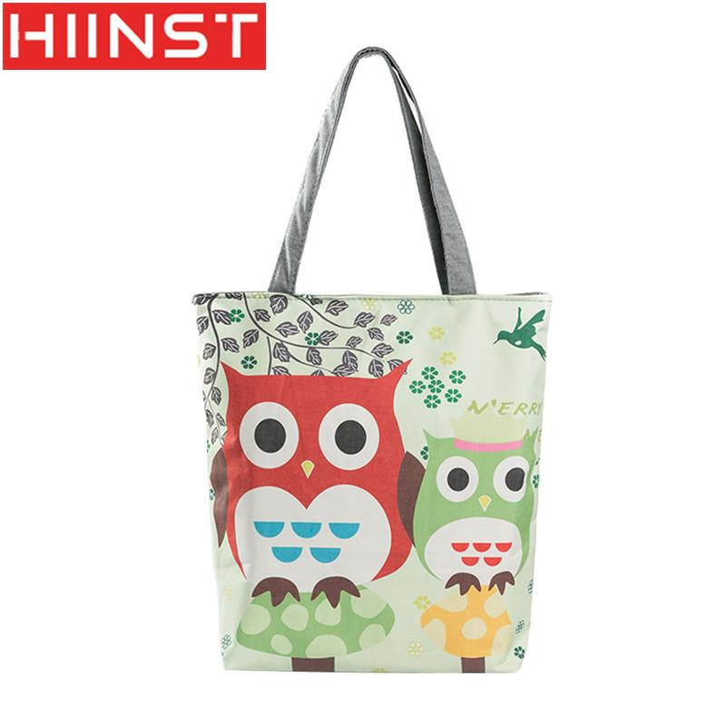f0956c15616 Cheap Fashion HIINST Women Zipper Creative Models Animal Printing Lady  Cloth Bag Handbag Owl Printing Canvas Bag Women Bag Cross Body Y014