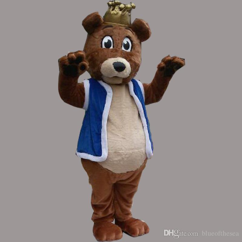 New Lovely Long Hair Brown Bear King Mascot Costume For adults Christmas Halloween Costume