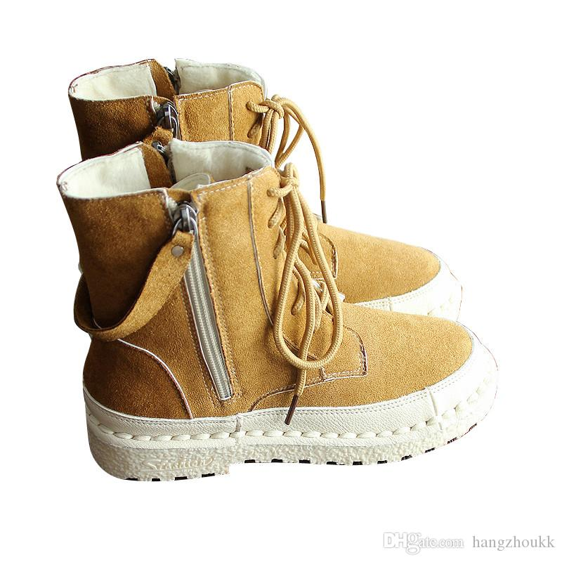 Mid-barrel boots with velvet and warm boots Soft-soled Hanshu Style Literature and Art Retro Shoes Leisure boots