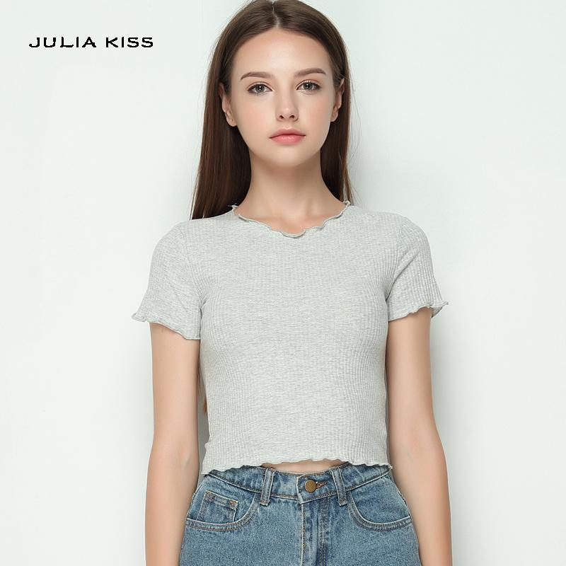 8f034c61364 Women Ruffled Trimmings Ribbed Crop Tops Soft And Stretchy Short ...