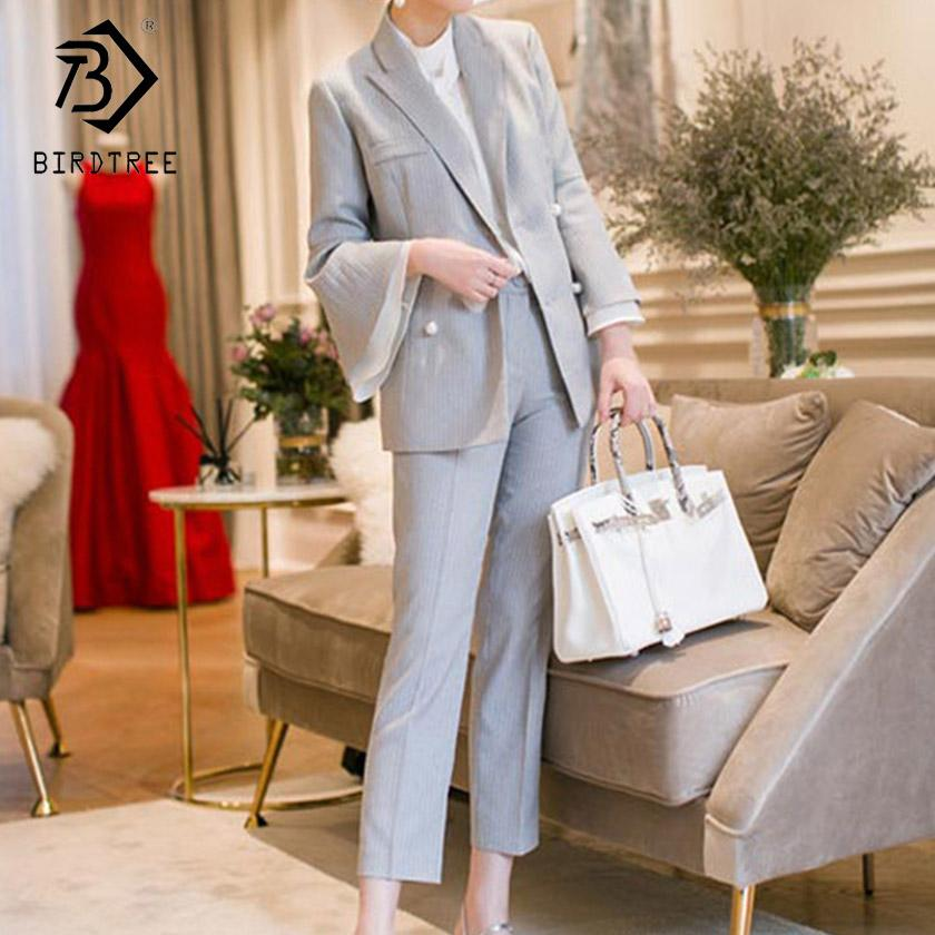 2019 Women's Striped Pant Suits Flare Sleeve Double Breasted Notched Top Zipper Pockets Pants Office Lady Fashion S91438J