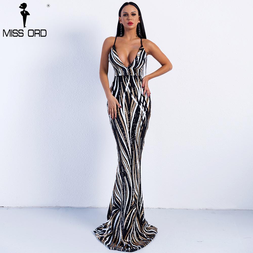 5151945840a2 Missord 2019 Sexy elegante cuello en V fuera del hombro de lentejuelas  mujer Maxi vestido de fiesta por la noche Vestidos FT8927 Q190423