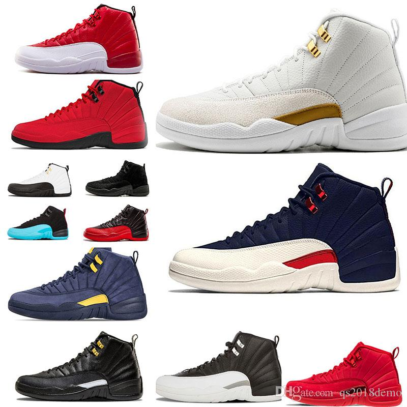 bc73f1580e2d 12 12s Mens Basketball Shoes Gym Red Bulls Flu Game Taxi BORDEAUX ...