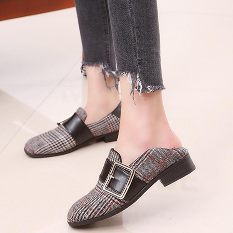 8eaf39271d8 Shoes New Spring Autumn Women Gingham Buckle Strap Loafers Ladies Slip On  Shallow Low Heels Female Fashion Casual Comfort Leather Shoes For Men Mens  ...