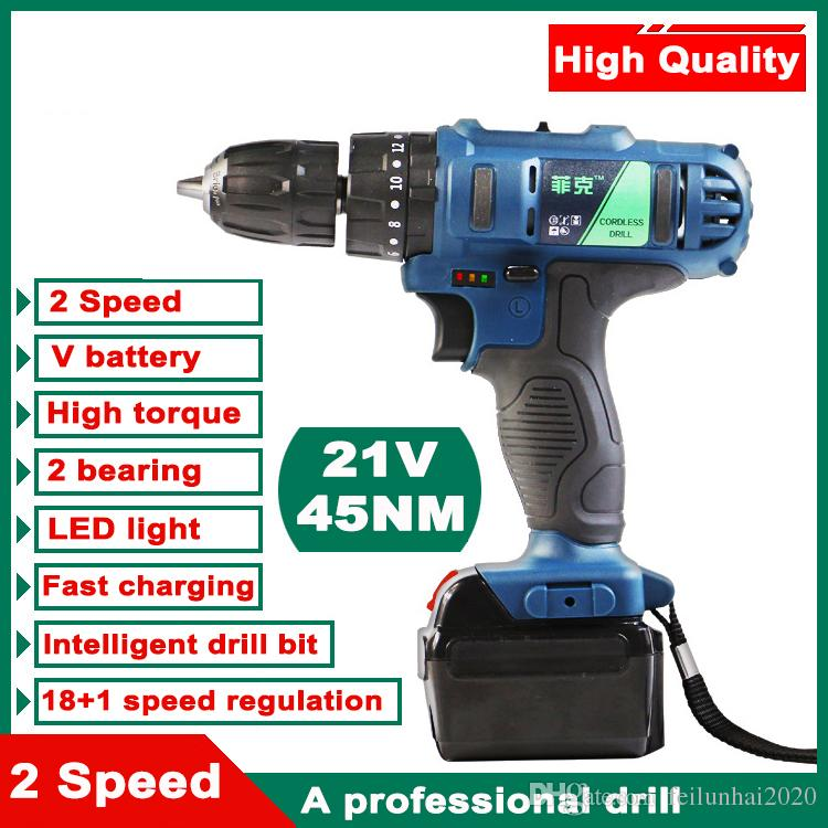 21V Lithium-Ion electric drill power tools Two-speed dremel drill engraver  Rechargeable Electric Cordless Screwdriver Drill