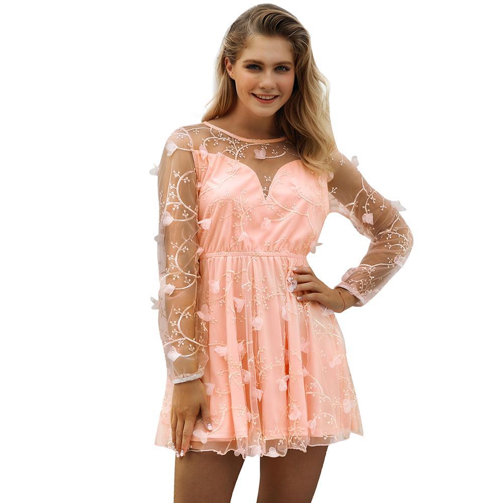 a39d368f0e48 Sexy Women Sheer Mesh Mini Dress Embroidery Applique O Neck Long Sleeve  Summer Beach Dress 2018 Evening Party Skater Dress Pink Vintage Prom Dresses  Evening ...